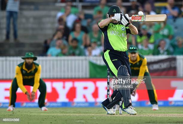 Ireland's Niall O'Brien plays a shot during the 2015 Cricket World Cup Pool B match between Ireland and South Africa in Canberra on March 3 2015 AFP...