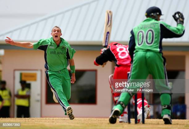 Ireland's Paul Mooney appeals successfully for the wicket of Canada's Ashif Mulla during their warmup match at St Augustine Trinidad