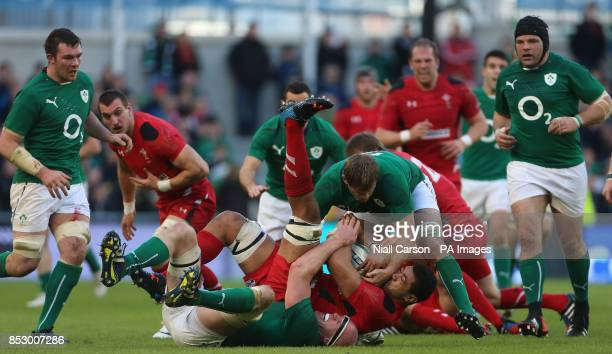 Ireland's Paul O'Connell and Wales's Taulupe Faletau during the RBS 6 Nations match at the Aviva Stadium Dublin Ireland
