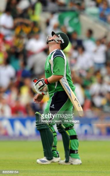 Ireland's Paul Stirling reacts as he leaves the field after being bowled out by Pakistan's Shahid Afridi during the ICC World Twenty20 Super Eights...