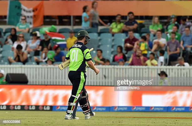 Ireland's Paul Stirling walks off the ground after being dismissed during the 2015 Cricket World Cup Pool B match between Ireland and South Africa in...