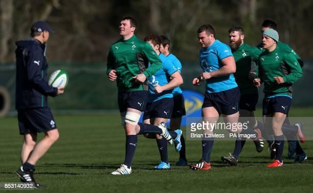 Ireland's Peter O'Mahony Jack McGrath Gordon D'Arcy and Ian Madigan during a training session at Carton House Dublin