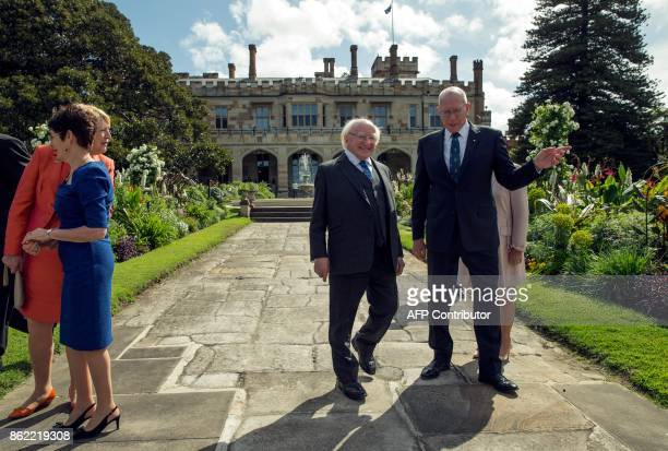 Ireland's President Michael Higgins walks with New South Wales' Governor David Hurley at Government House in Sydney on October 17 2017 Higgins is on...
