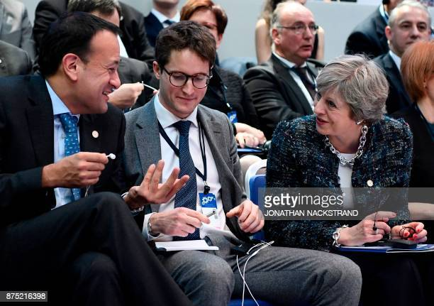 Ireland's Prime minister Leo Varadkar and Britain's Prime minister Theresa May talk ahead a discussion session during the European Social Summit in...