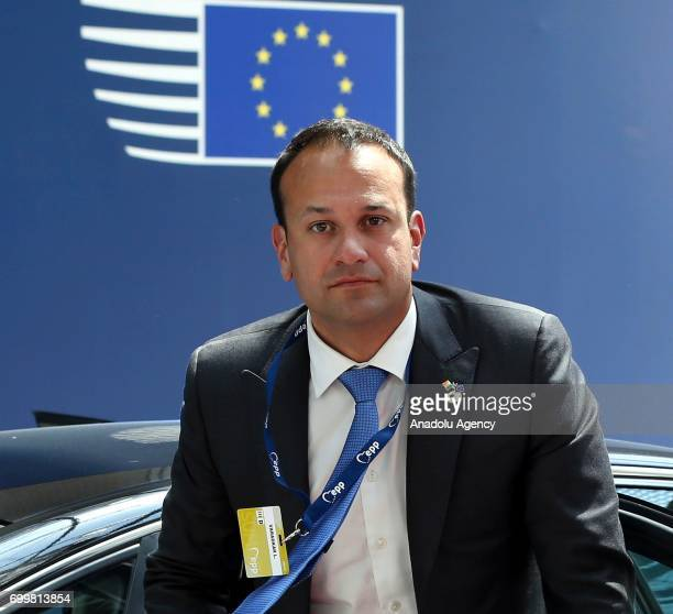 Ireland's Prime Minister Leo Varadkar arrives at the Europa building to attend the European Union leaders summit in Brussels Belgium on Thursday June...