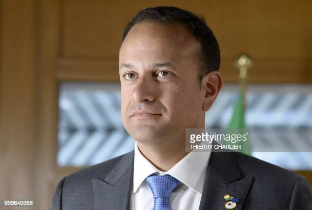 Ireland's Prime Minister Leo Varadkar arrives for a meeting with President of the European Council on the sideline of an European Union leaders...