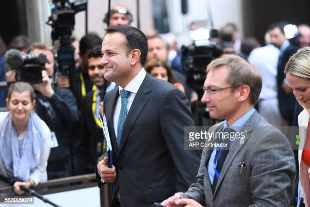 Ireland's Prime minister Leo Varadkar arrives in Brussels on October 19 2017 on the first day of a summit of European Union leaders set to rule out...