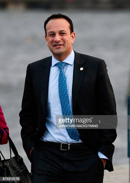 Ireland's Prime minister Leo Varadkar walks on a pier after leaving the luncheon during the European Social Summit in Gothenburg Sweden on November...