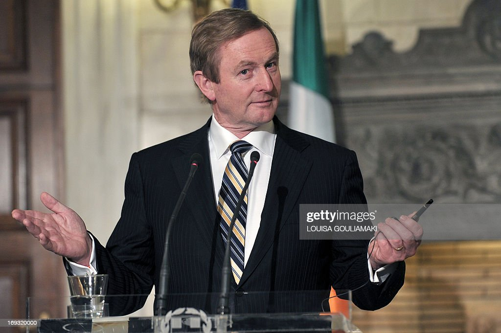 Ireland's Prime Mnister Enda Kenny , whose country has received an international bailout, speaks to journalists in Athens during a joint press conference with his Greek counterpart, Antonis Samaras as part of a working visit on May 23, 2013. AFP PHOTO/LOUISA GOULIAMAKI