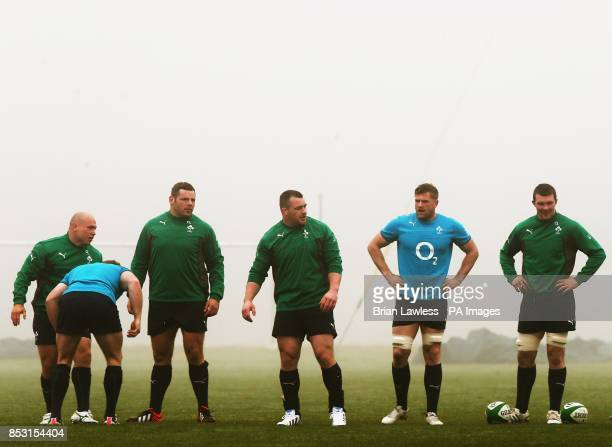 Ireland's Richardt Strauss Mike Ross Cian Healy Jamie Heaslip and Peter O'Mahony during a training session at Carton House Dublin