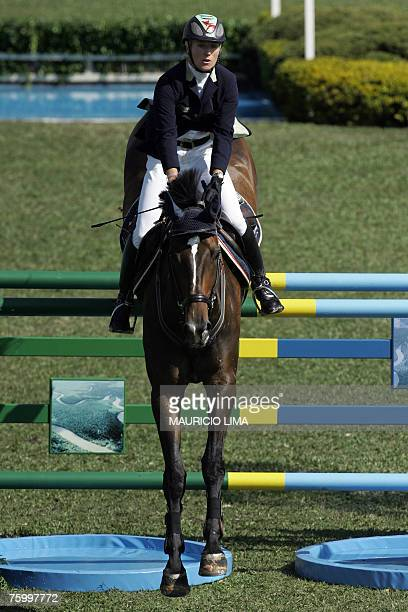 Ireland's rider Jessica Kurten jumps with her horse Castle Forbes MaikeKWPN during the 1st Athina Onassis International Horse Show at Sociedade...