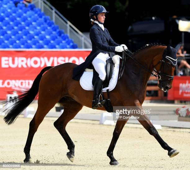 Ireland's rider Sarah Ennis and her horse Horseware Stellor Rebound compete during the dressage competition of the FEI European Eventing...