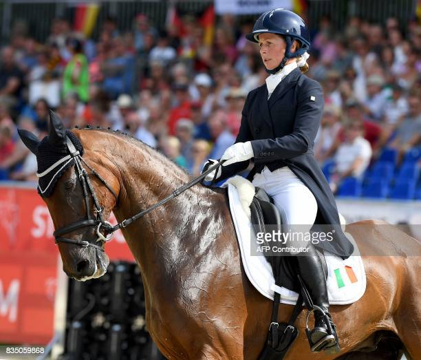 Ireland's rider Sarah Ennis and his horse Horseware Stellor Rebound compete during the dressage competition of the FEI European Eventing...