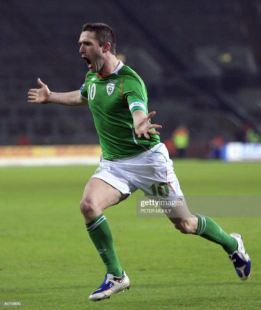 Ireland's <a gi-track='captionPersonalityLinkClicked' href=/galleries/search?phrase=Robbie+Keane&family=editorial&specificpeople=171824 ng-click='$event.stopPropagation()'>Robbie Keane</a> reacts after scoring a second goal against Georgia during a world cup qualifing football match at Croke Park in Dublin, Ireland on February 11, 2009. AFP PHOTO/Peter Muhly