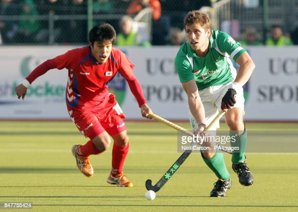Ireland's Ronan Gormley and South Korea's Hyo Sik You during their International Hockey Federation Olympic qualifing match at Belfield in Dublin