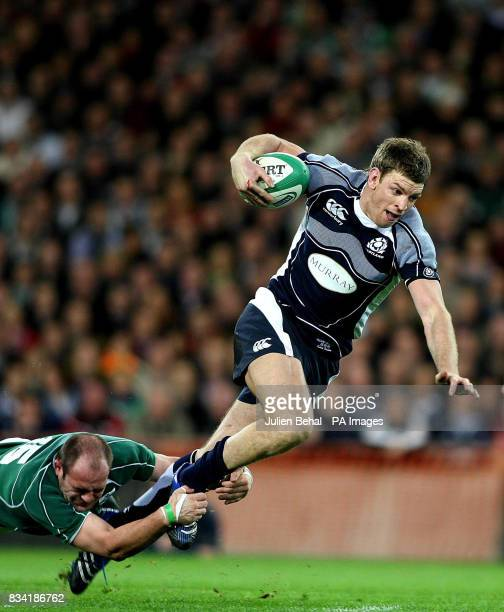 Ireland's Rory Best catching Scotland's Nikki Walker during the RBS 6 Nations match at Croke Park Dublin