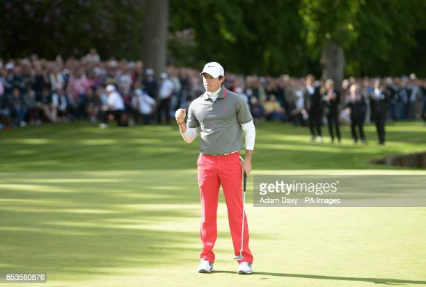 Ireland's Rory McIlroy celebrates at the 18th after his birdie to win the BMW PGA Championships at the Wentworth Club Surrey