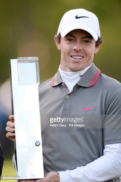 Ireland's Rory McIlroy celebrates winning the BMW PGA Championships at the Wentworth Club Surrey