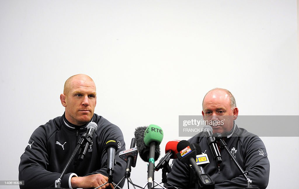 Ireland's rugby union national team captain Paul O'Connell (L) and head coach Declan Kidney give a press conference on March 3, 2012 at the Stade de France in Saint-Denis, north of Paris on the eve of their rugby union 6 Nations tournament match against France. AFP PHOTO / FRANCK FIFE