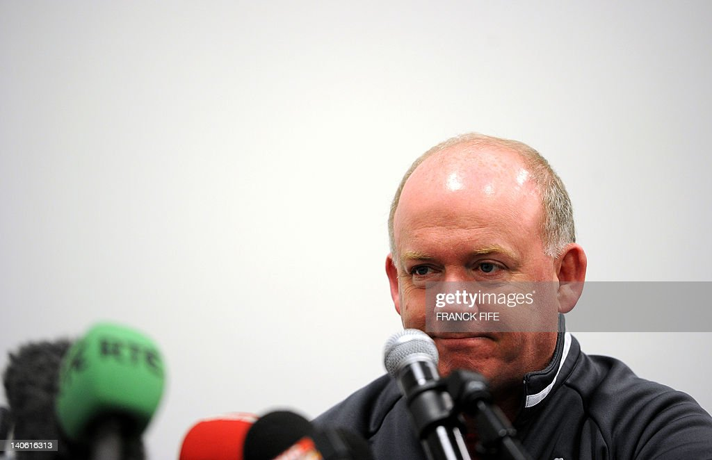 Ireland's rugby union national team head coach Declan Kidney grimaces during a press conference on March 3, 2012 at the Stade de France in Saint-Denis, north of Paris on the eve of their rugby union 6 Nations tournament match against France.