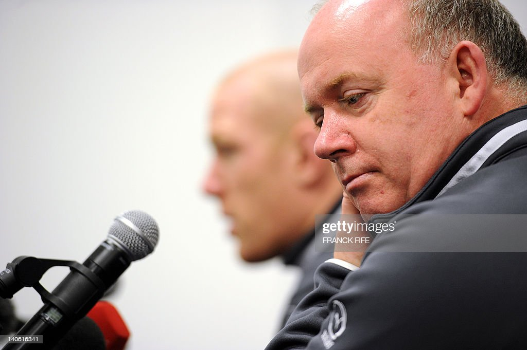 Ireland's rugby union national team head coach Declan Kidney (R) is seen during a press conference on March 3, 2012 at the Stade de France in Saint-Denis, north of Paris on the eve of their rugby union 6 Nations tournament match against France.