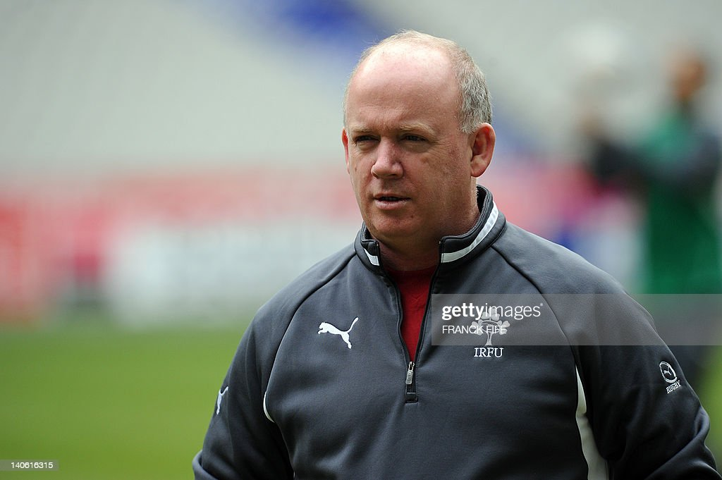 Ireland's rugby union national team head coach Declan Kidney takes part in a training session on March 3, 2012 at the Stade de France in Saint-Denis, north of Paris on the eve of their rugby union 6 Nations tournament match against France.