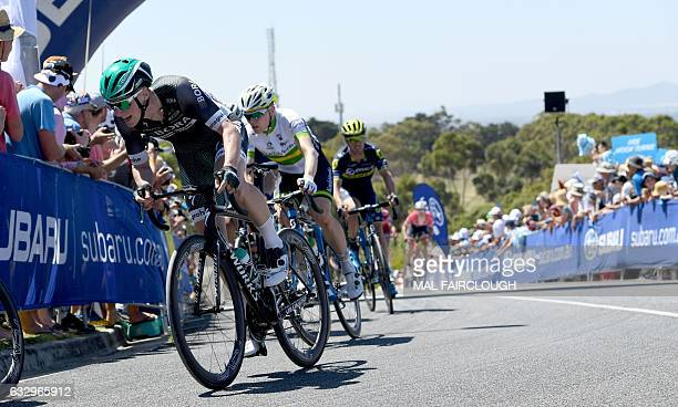 Ireland's Sam Bennett of Bora Hansgrohe takes part in the Cadel Evans Great Ocean Road Race cycling event in Geelong on January 29 2017 / AFP / Mal...