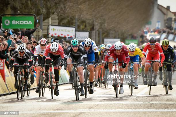 Ireland's Sam Bennett sprints to win ahead of Australia's Michael Matthews Germany's Andre Greipel Germany's John Degenkolb Germany's Marcel Kittel...