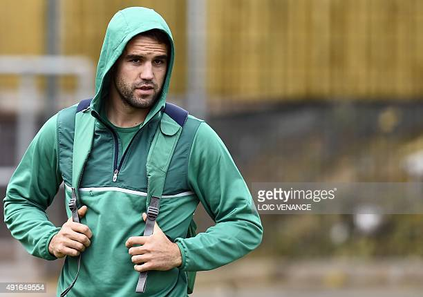 Ireland's scrum half Conor Murray arrives for a team training session on October 7 2015 in Newport south Wales during the 2015 Rugby union World Cup...