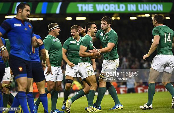 Ireland's scrum half Conor Murray reacts after scoring his team's second try during a Pool D match of the 2015 Rugby World Cup between France and...