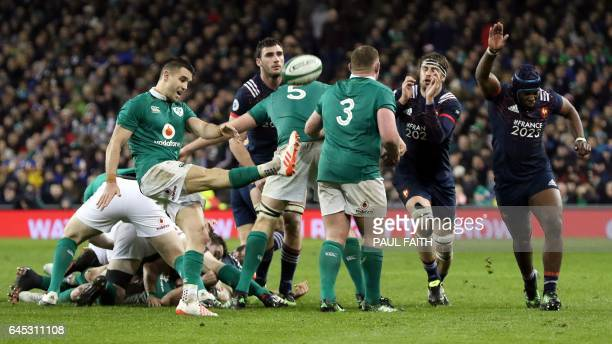 Ireland's scrumhalf Conor Murray kicks the ball during the Six Nations international rugby union match between Ireland and France at the Aviva...