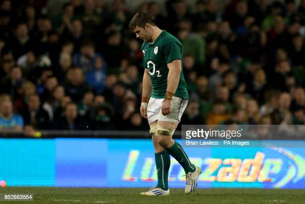 Ireland's Sean O'Brien leaves the field after being substituted during the Guinness Series match at the Aviva Stadium Dublin Ireland