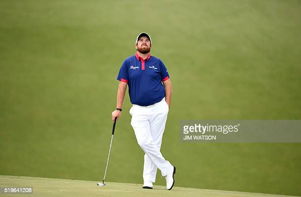 TOPSHOT Ireland's Shane Lowry waits to play on the 10th green during Round 1 of the 80th Masters Golf Tournament at the Augusta National Golf Club on...
