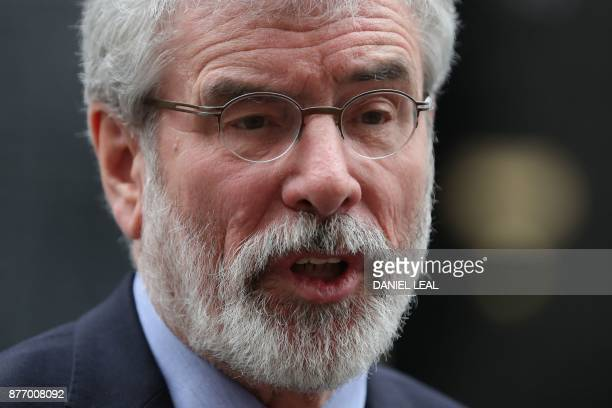 Ireland's Sinn Fein leader Gerry Adams speaks to the press in Downing street following a meeting with British Prime Minister Theresa May in central...