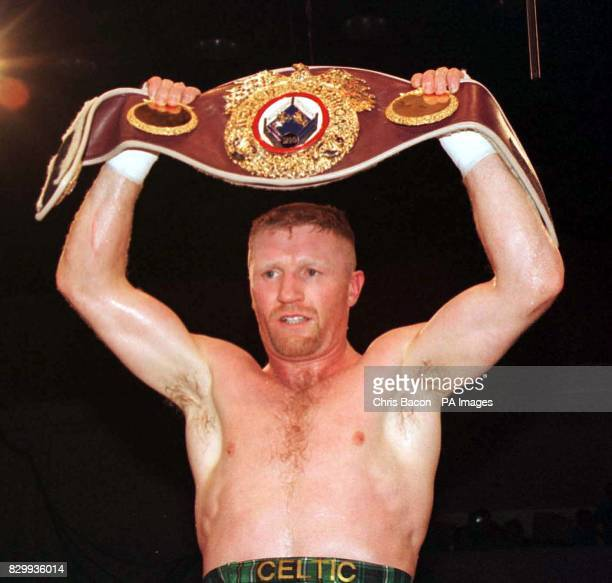 Ireland's Steve Collins celebrates after beating Craig Cummings of the USA in the third round of tonight's WBO SuperMiddleweight Championship in...