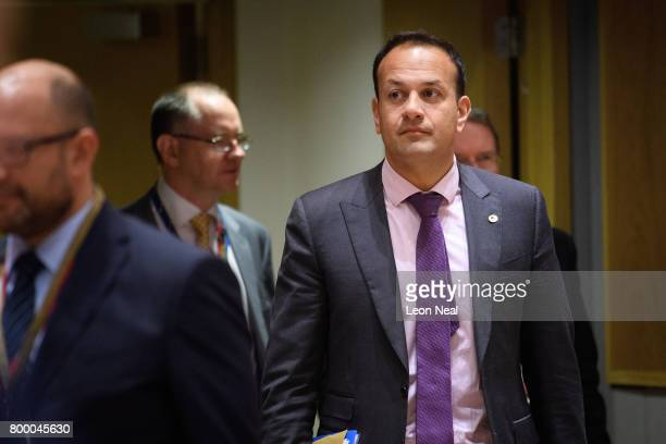 Ireland's Taoiseach Leo Varadkar arrives ahead of a roundtable meeting at the EU Council headquarters on the second day of a two day European Council...