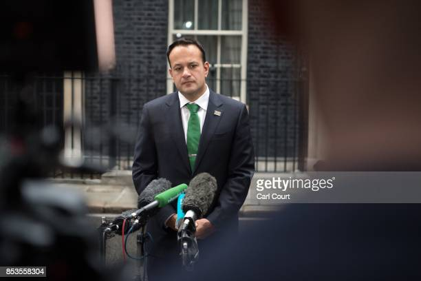 Ireland's Taoiseach Leo Varadkar speaks to the media after meeting Britain's Prime Minister Theresa May in Downing Street on September 25 2017 in...