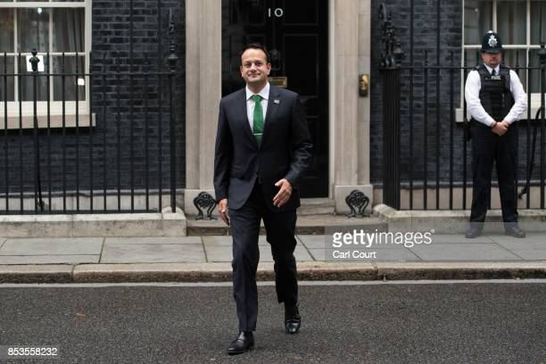 Ireland's Taoiseach Leo Varadkar walks to speak to the media after meeting Britain's Prime Minister Theresa May in Downing Street on September 25...
