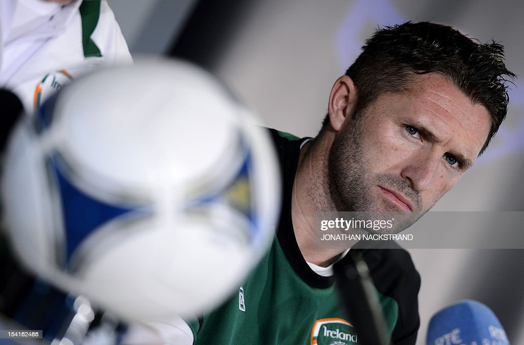 Ireland's team captain Robbie Keane attends a press conference on October 15, 2012, one day before the FIFA 2014 World Cup group C qualifying football match Faroe Islands vs Ireland at the Torsvollur stadium in Torshavn.