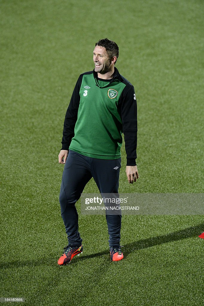 Ireland's team captain Robbie Keane takes part in a training session on October 15, 2012, one day before the FIFA 2014 World Cup group C qualifying football match Faroe Islands vs Ireland at the Torsvollur stadium in Torshavn.