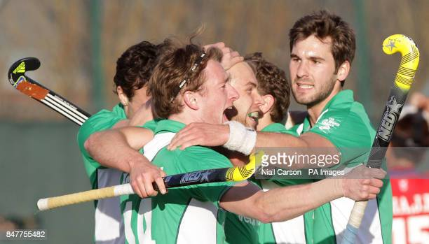 Ireland's Timothy Cockram celebrates his goal during their International Hockey Federation Olympic qualifing match at Belfield in Dublin