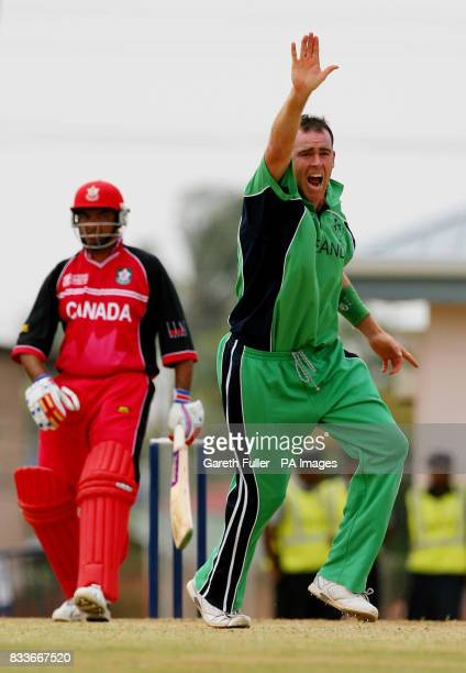Ireland's Trent Johnston appeals successfully for the wicket of Canada's Qaiser Ali during their warmup match at St Augustine Trinidad