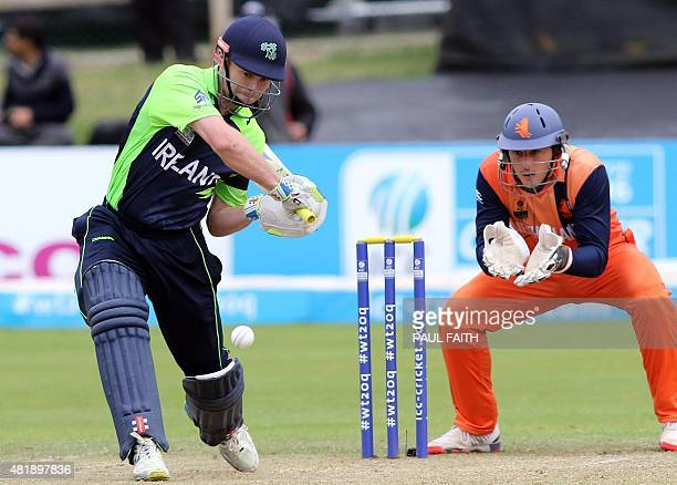 Ireland's William Porterfield plays a shot during the ICC World Twenty20 Qualifer between Ireland and the Netherlands at Malahide cricket club north...