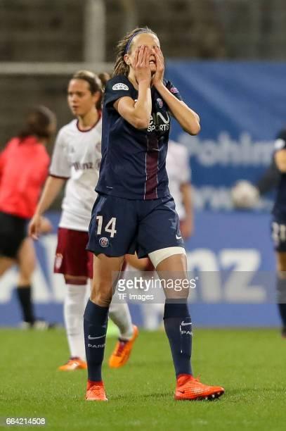 Iren Paredes of Paris Saint Germain gestures during the Champions League match between Bayern Munich and Paris Saint Germain at Municipal Stadium on...