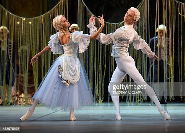 Irena Perrin and Leonid Sarafanov dancers of the Mikhailovsky Ballet of St Petersburg Russia perform a scene from 'The Flames of Paris ' during a...