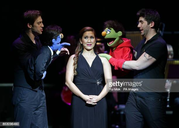 Irene Alano Rhodes with Avenue Q performers at the fundraiser concert You'll Never Walk Alone The West End Unites For The Philippines in aid of the...