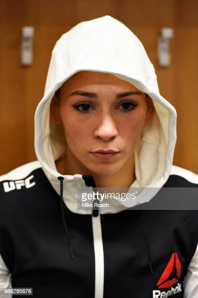 Irene Aldana of Mexico is seen backstage prior to the fight against Katlyn Chookagian at KeyBank Center on April 8 2017 in Buffalo New York