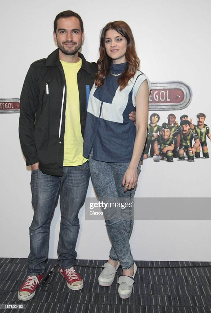 Irene Azuela and Alfonso Herrera pose for a photo during the photocall of the animated movie Metegol at Universal Pictures Facilities on November 12, 2013 in Mexico City, Mexico.