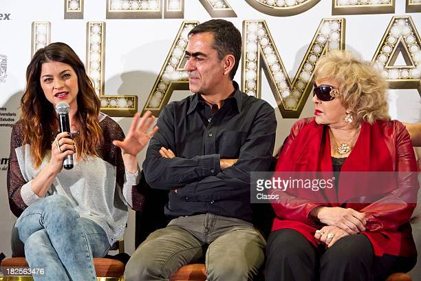 Irene Azuela Francisco Franco and Silvia Pinal speak during a press conference of te Mexican film Tercera Llamada at the Maria Isabel Sheraton Hotel...