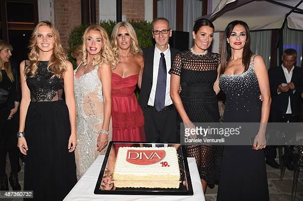 Irene Cioni Valeria Marini Tiziana Rocca Angelo Ascoli and Alena Seredova and Maria Grazia Cucinotta attend a party for 'DivaDonna' 10th Anniversary...